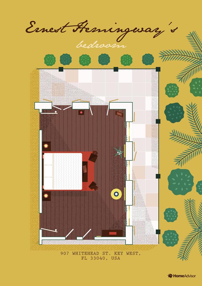 ernest hemingway bedroom illustration