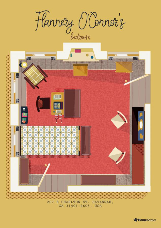 flannery oconnor bedroom illustration