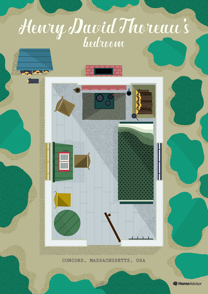 henry david thoreau bedroom illustration