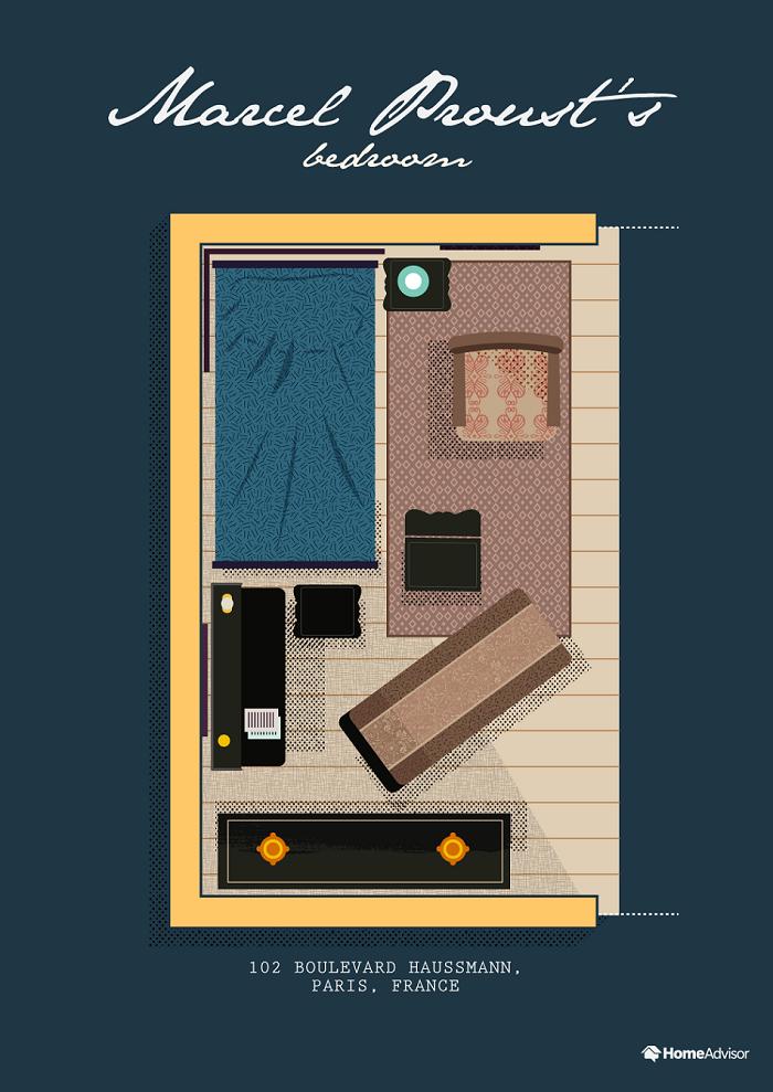 marcel proust bedroom illustration
