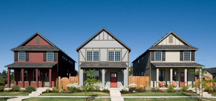 Homes in a row in a neighborhood