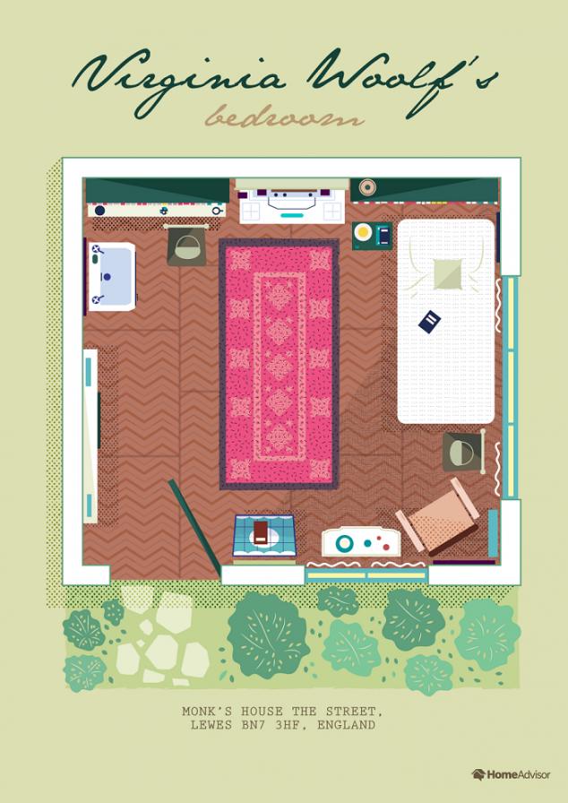 virginia woolf bedroom illustration