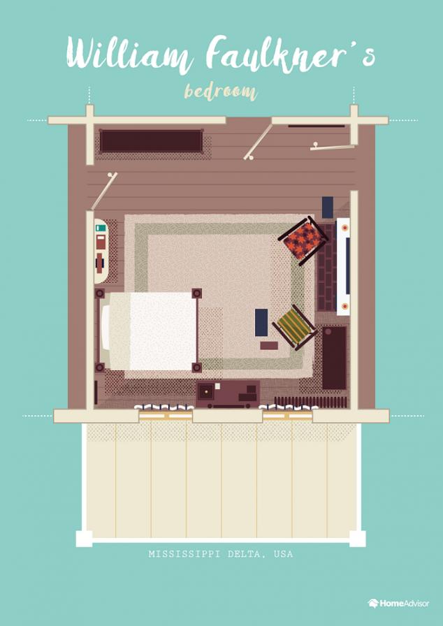 william faulkner bedroom illustration
