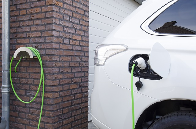 Electric vehicle home charging station.