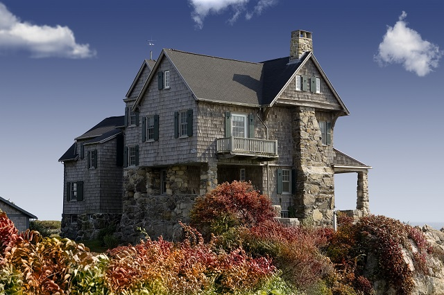 Old house on a cliff.
