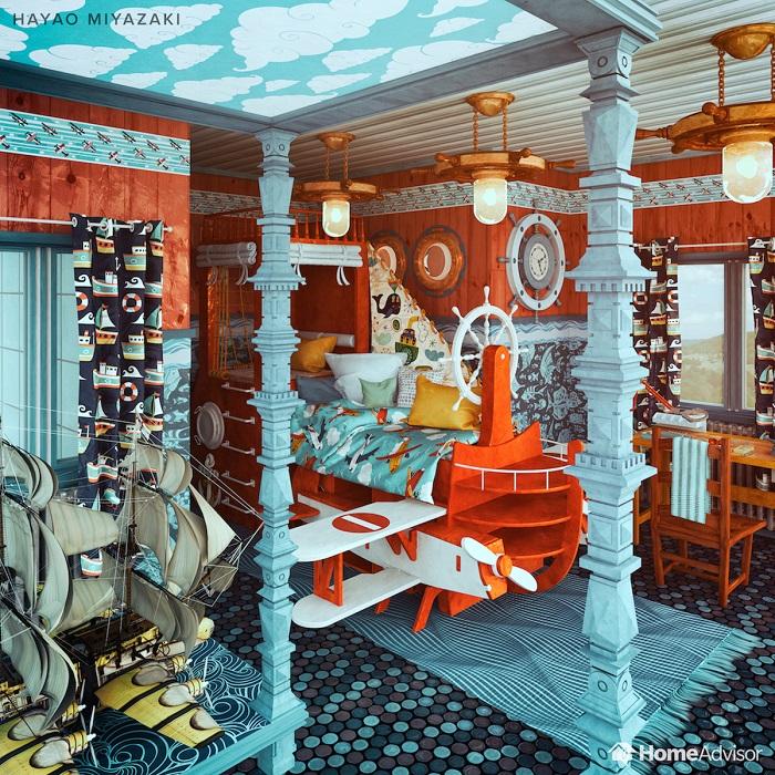 hayao miyazaki designed bedroom