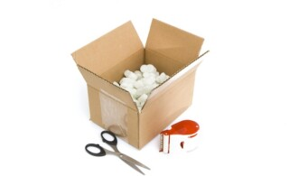 shipping supplies isolated against white background