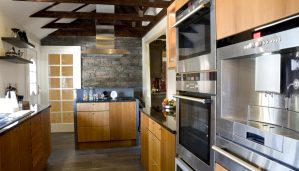 A kitchen with smart technology.