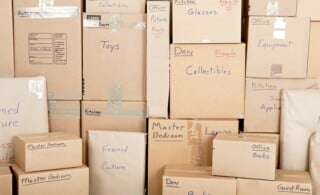 boxes labeled and packed for moving