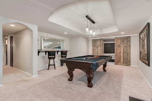 Finished Basement Remodel With Pool Table.