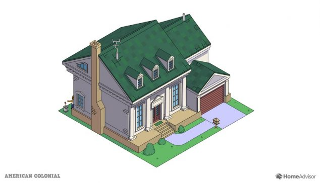 the simpsons house as an american colonial