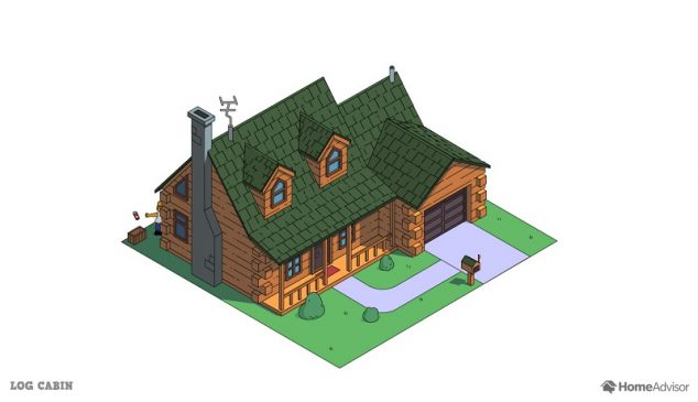 the simpsons house as a log cabin