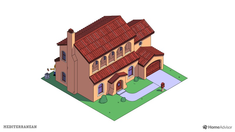 the simpsons house as a mediterranean