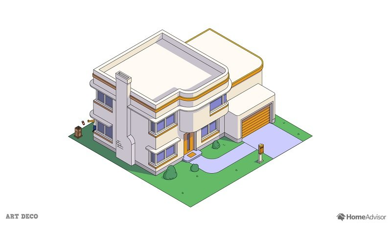 the simpsons house as a art deco