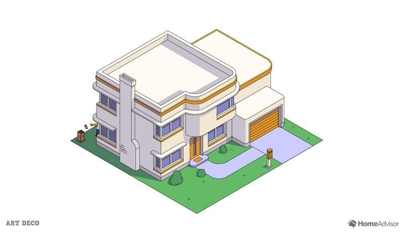 the simpsons house as a art deco