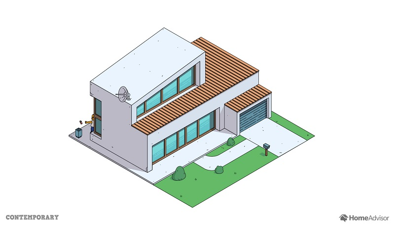 Reimagining the simpsons 39 home in 8 popular architectural for Popular architectural styles