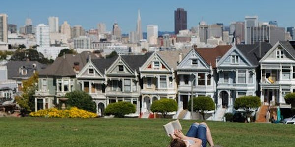 Reading a book in Golden Gate Park across from the row houses in California.