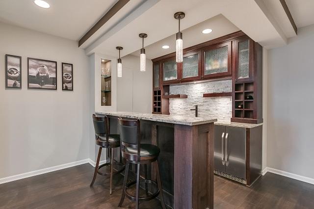 Finished modern basement bar