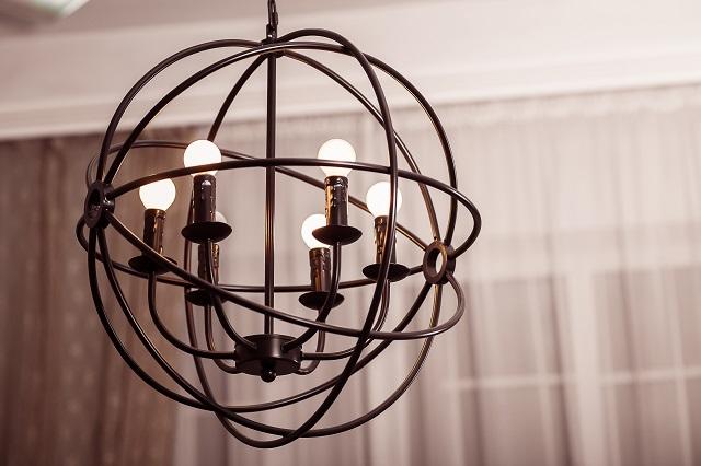 Spherical art loft style chandelier.