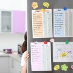 Family calendar and to do lists hanging on refrigerator