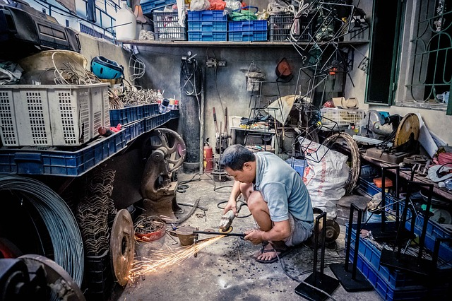 Man working on project in garage