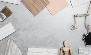 Samples of wood, brick and stone veneer