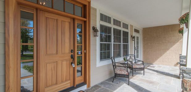 Wide Home Door on Front Porch