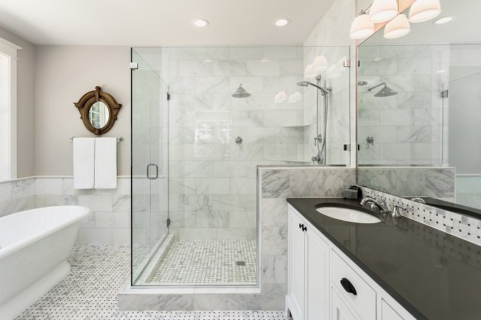 bathtub and shower in new luxury home - Luxury Tile Showers