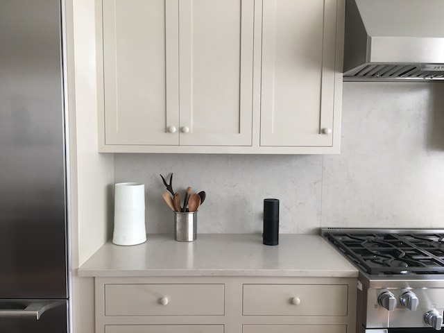 An Alexa virtual assistant sits on a kitchen in Brooklyn.