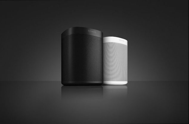 Sonos One device on sleek black surface