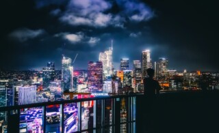 Los Angeles under dark and cloudy sky