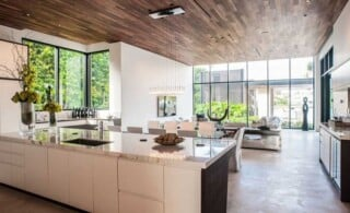 Modern open-concept home with wood ceiling and natural elements