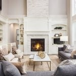 White fireplace in living room
