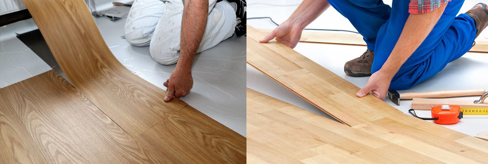 two men lay laminate and vinyl flooring