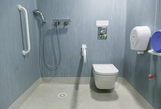 Bathroom with easy accessibility for physically impaired