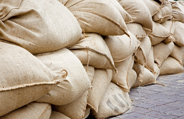 sand sack as barrier for high flood
