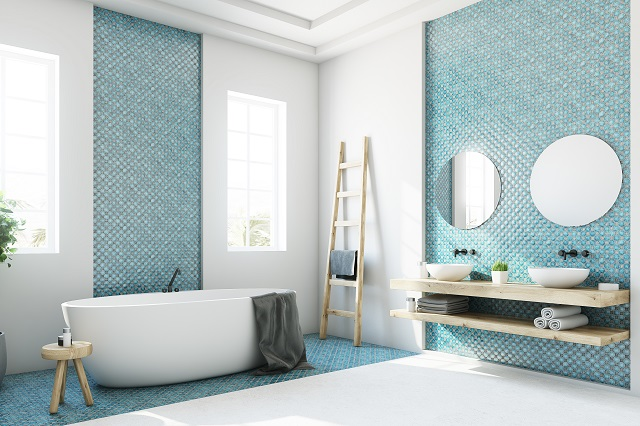 Blue and white bathroom, white tub side