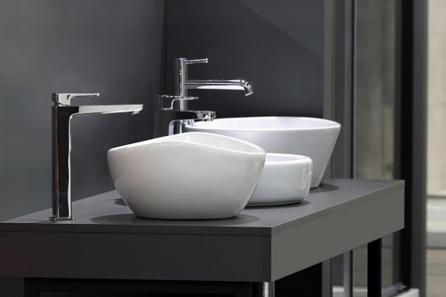 Various modern, white sink styles in above-counter bowl shapes
