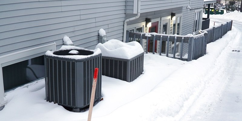ac units outside in the snow
