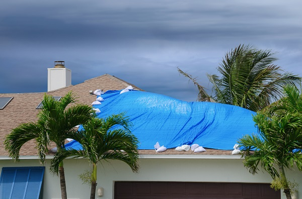 blue tarp on damaged roof