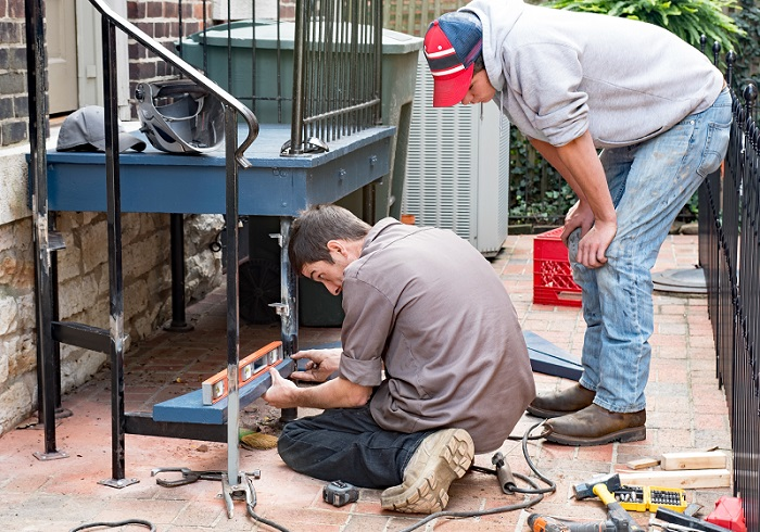 leveling and installing deck steps