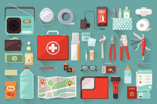 Home survival emergency kit for evacuation