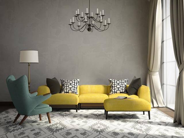 Living room design using 60:30:10 color ratio