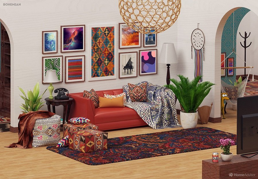 Simpsons Living Room in bohemian Style