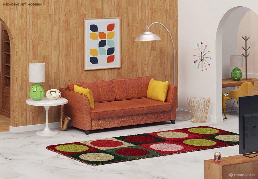 Simpsons Living Room in mid-century modern Style