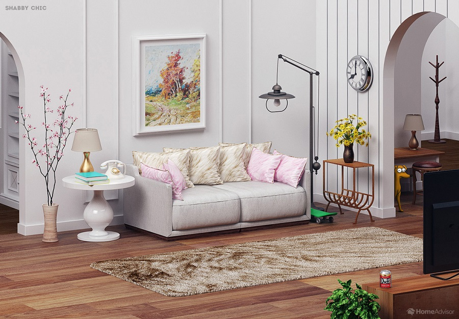 Simpsons Living Room in shabby Style