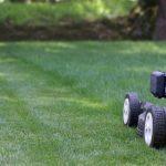 lawnmower running over green grass
