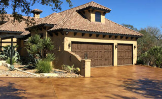 Desert Home With Stamped Concrete Driveway