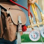 hvac expert technician at a home