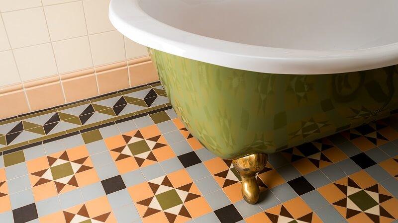 decorative floor tiles in bathroom